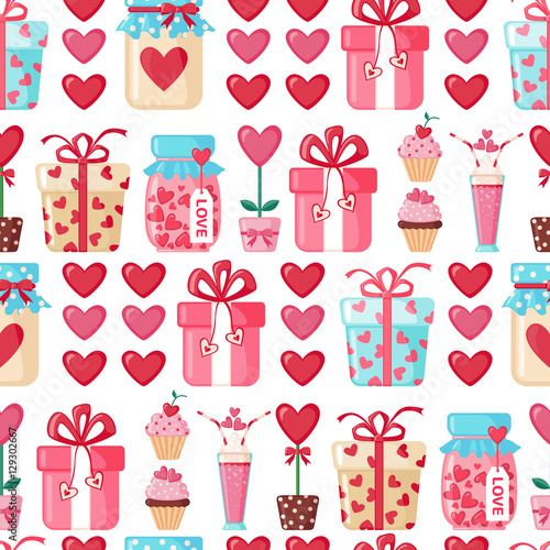 Cotton fabric Valentines day seamless pattern.