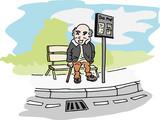 Oude man wacht op de bus bij bushalte