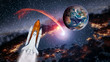 Space shuttle spaceship launch spacecraft planet Earth rocket ship mission universe. Elements of this image furnished by NASA.