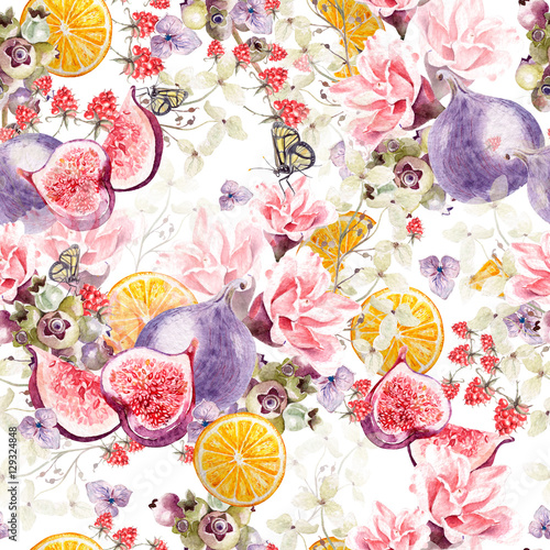 Beautiful watercolor pattern with hydrangea, rose, figs, orange and raspberry. Illustrations.