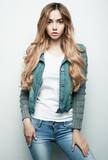 fashion model posing in studio, white background
