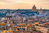 Rome at sunset time with St Peter Cathedral - 129330613