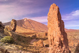 Scenic view of Roques del Garcia stone and Teide volcano in the Teide National Park, Tenerife, Canary Islands, Spain.