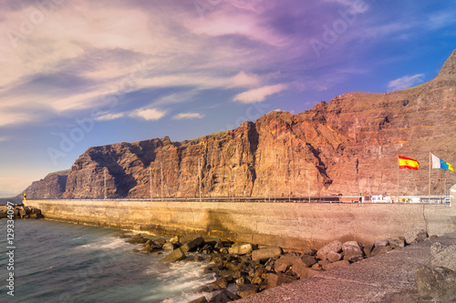 Dramatic view of monumental Los Gigantes cliffs on shore of Tenerife, Canary Islands.