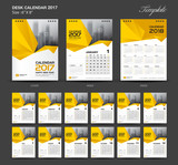 Set Yellow Desk Calendar 2017 year size  6 x 8 inch template, Se
