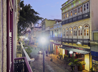Brazil, City of Rio de Janeiro, Lapa, Twilight view of the Rua do Lavradio with the Rio Scenarium building.