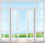 Door with window to the terrace overlooking the sea and a beautiful landscape. Clear glass. Vector graphics