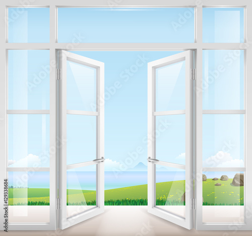 Staande foto Lichtblauw Door with window to the terrace overlooking the sea and a beautiful landscape. Clear glass. Vector graphics