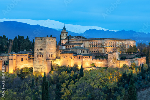 Illuminated Alhambra fortress in Granada