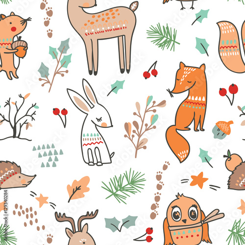 Cotton fabric Winter animal seamless pattern