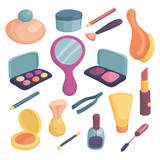 Cosmetics icons set. Cartoon illustration of 16 cosmetics vector icons for web