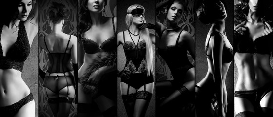 Sexy girls in lingerie on a dark background