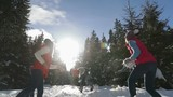 People Group Snow Forest Young Friends Having Fun Playing Snowballs Outdoor Winter Pine Woods Slow Motion 120