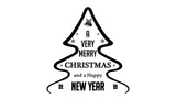 A Very Merry Christmas And A Happy New Year Text Title With Tree, Snowflakes and Gifts