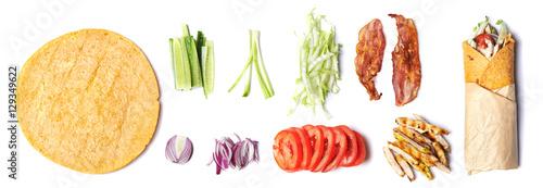 Foto op Plexiglas Verse groenten ingredients for wrapped sandwich