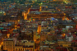Top view of Mexico-city at night, Zocalo