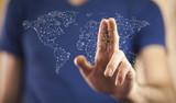 man hand world map