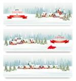 Holiday Christmas banners with villages and landscape. Vector.