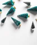 Collection of small Christmas trees from top view