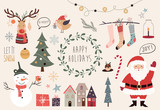Christmas collection of hand drawn decorative elements - 129391084
