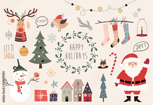 Christmas collection of hand drawn decorative elements