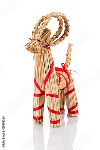 Yule Goat or Christmas goat is a Scandinavian and a Northern European Yule and Christmas symbol and traditional christmas decoration Poster