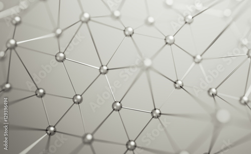 Abstract 3d rendering of chaotic structure. Plexus background with lines and spheres in empty space. Futuristic shape. Network concept. Modern design for banner, poster, placard.