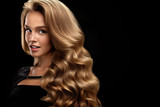 Beautiful Curly Hair. Female Beauty Model With Volume Hair