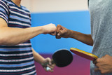 Fototapety Ping Pong Table Tennis Game Practicing Sport Concept