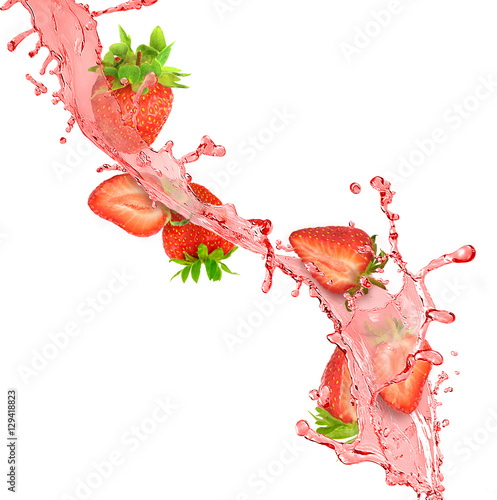 splash of red juice with strawberries