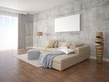 Mock up poster living room with stylish floor lamp on hipster background.