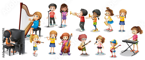Foto op Aluminium Kids Many children playing different musical instruments