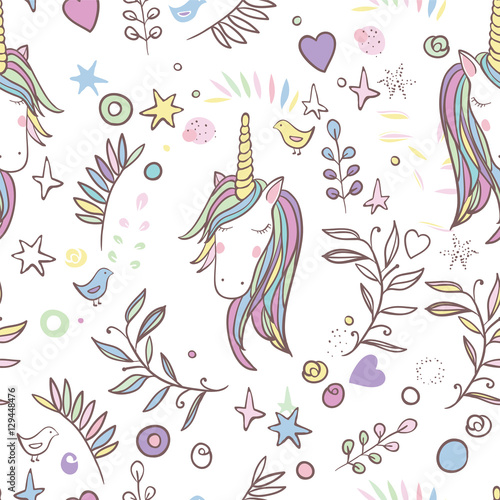 Cotton fabric Unicorn Rainbow seamless pattern