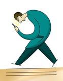 Uomo con cellulare in mano che cammina. Disegnato a mano