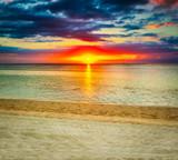 Le Morn beach at sunset.