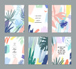 Set of creative universal floral cards in tropical style.   - 129476255