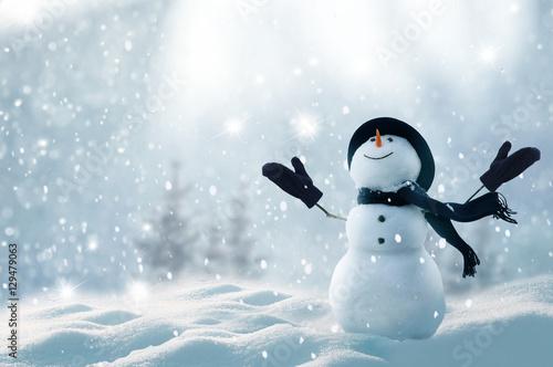 Leinwandbild Motiv Merry christmas and happy new year greeting card with copy-space