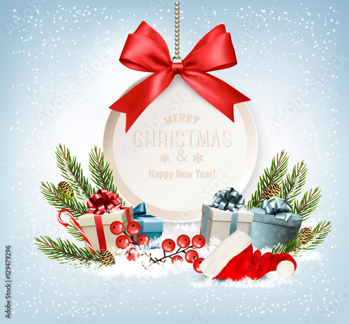 Poszter Holiday Christmas background with a gift boxes and gift card wit