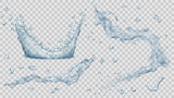 Water splashes, water drops and crown from splash of water. Transparency only in vector file - 129481421