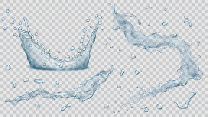 Water splashes, water drops and crown from splash of water. Transparency only in vector file
