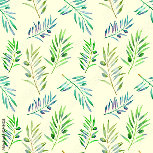 Fototapeta Floral seamless pattern with olive branch. Vegetable background in hand drawn watercolor style.