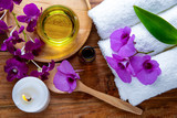 spa treatment on wooden table
