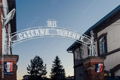 Plakat Caserne Turenne inscription above the gate of the enrolment military office in t