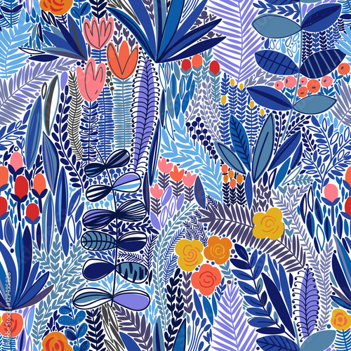 Cotton fabric Tropical seamless floral pattern