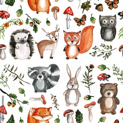 Naklejka Cute woodland animals Watercolor images Kindergarten zoo icons