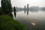 Misty pagodas, Rong Hu Lake, Guilin, China