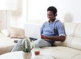 black man listening music.