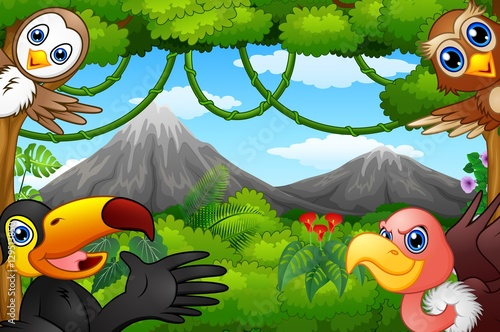 Fotobehang Zoo Wild birds cartoon with a mountain in a forest