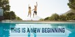 Composite image of cheerful couple jumping into swimming pool
