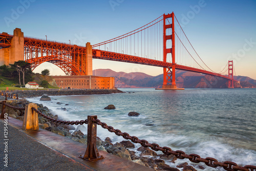 Plexiglas San Francisco San Francisco. Image of Golden Gate Bridge in San Francisco, California during sunrise.